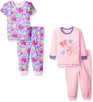 Gerber Baby and Little Girls' 4 Piece Cotton Pajamas Set