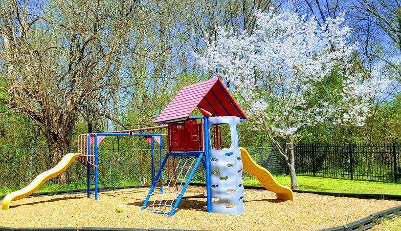 A beautiful spring day at the Fayette Cares shelter playground